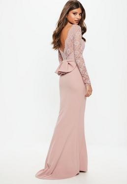 Vestido largo dama de honor de espalda descubierta con lazo en rosa