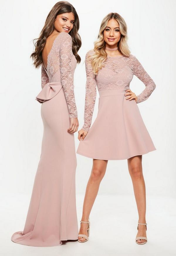 Bridesmaid Pink Backless Lace Bow Detail Maxi Dress | Missguided