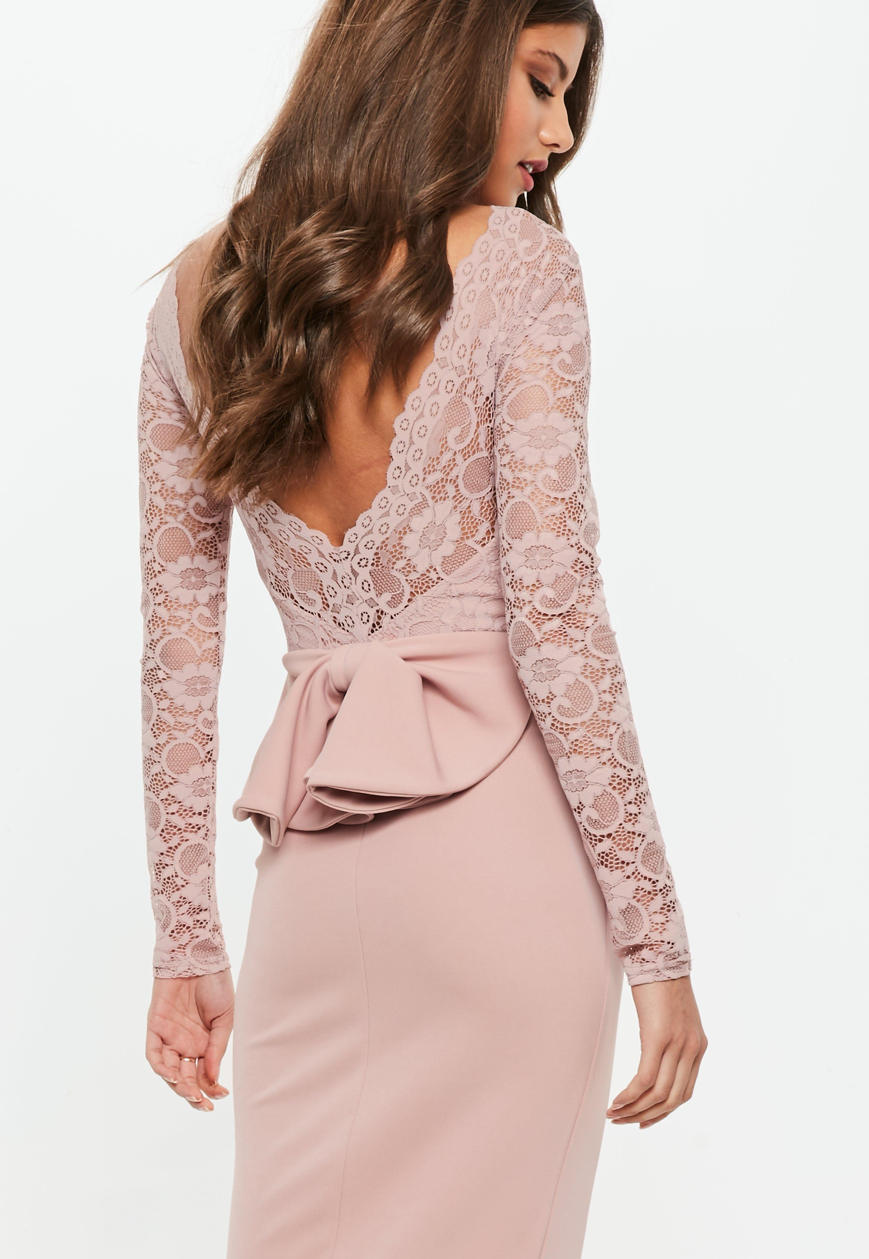 db6b6983 Pink Lace Backless Maxi Dress