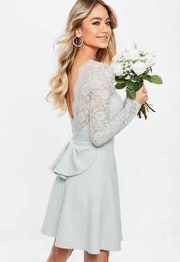 Bridesmaid Gray Backless Lace Bow Detail Skater Dress