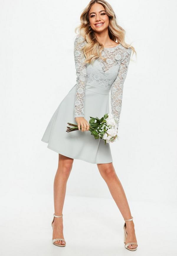 Bridesmaid Grey Backless Lace Bow Detail Skater Dress | Missguided