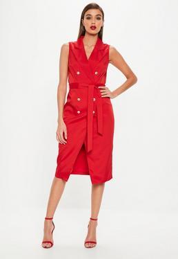 Red Sleeveless Belted Midi Blazer Dress