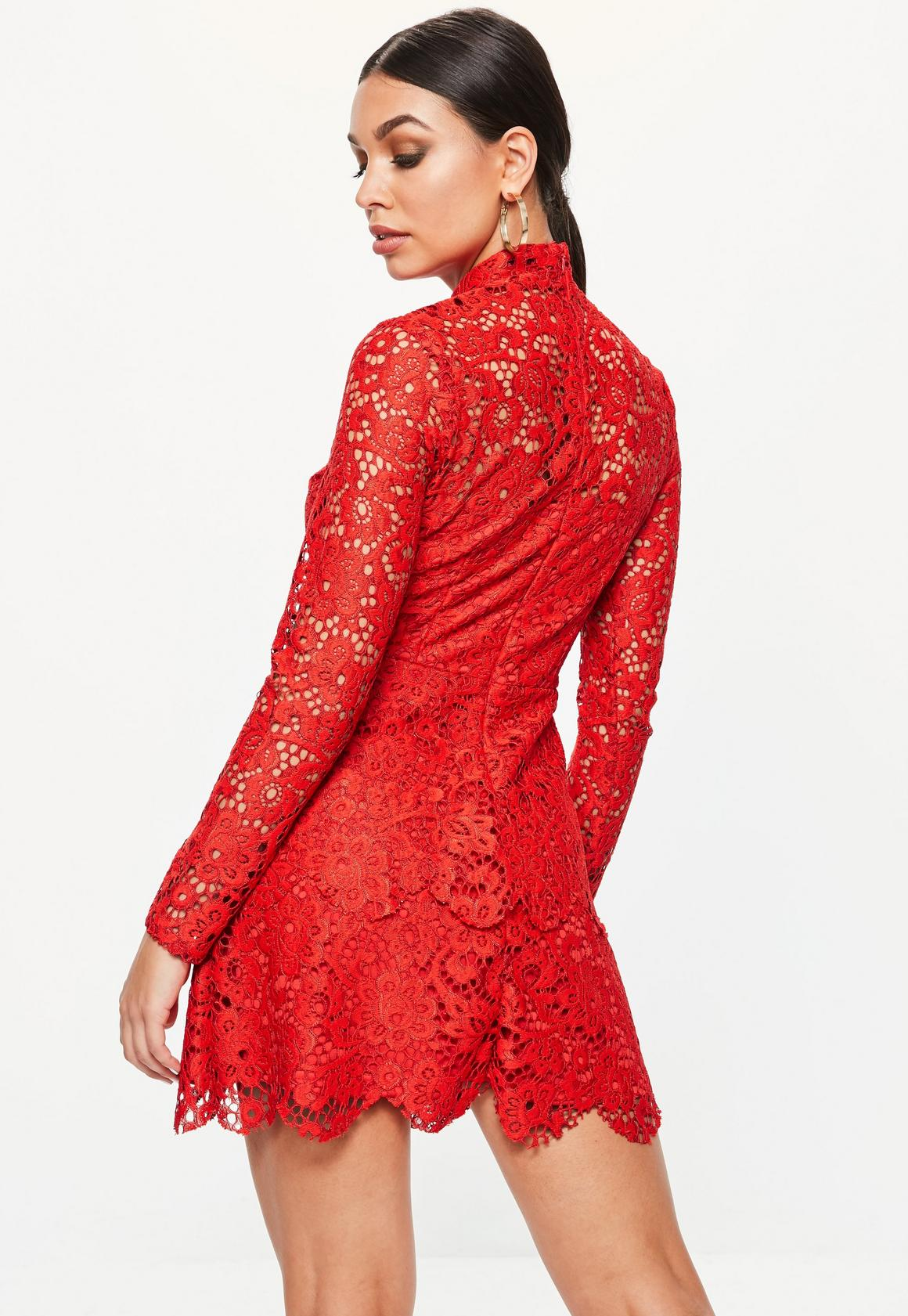 c47907bfca Missguided - Red Lace High Neck Frill Layered Mini Dress