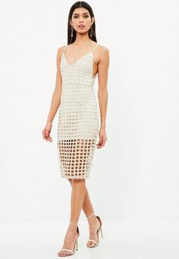 Nude Geometric Lace Racer Back Midi Dress