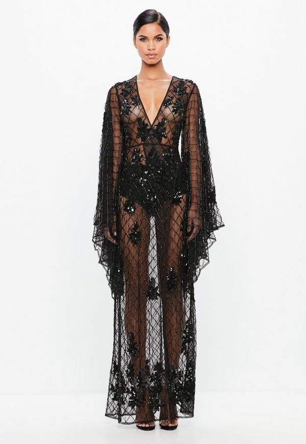 Peace Love Czarna Przezroczysta Sukienka Maxi Missguided
