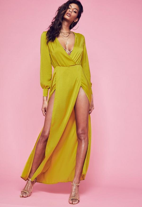 Yellow Long Sleeve Plunge Wrap Front Split Maxi Dress