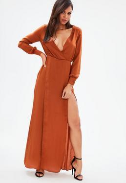 Brown Long Sleeve Plunge Wrap Split Maxi Dress