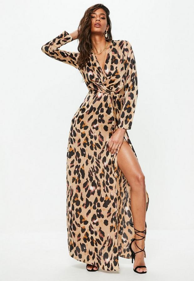 Product photo of Gold leopard print wrap front maxi dress animal print
