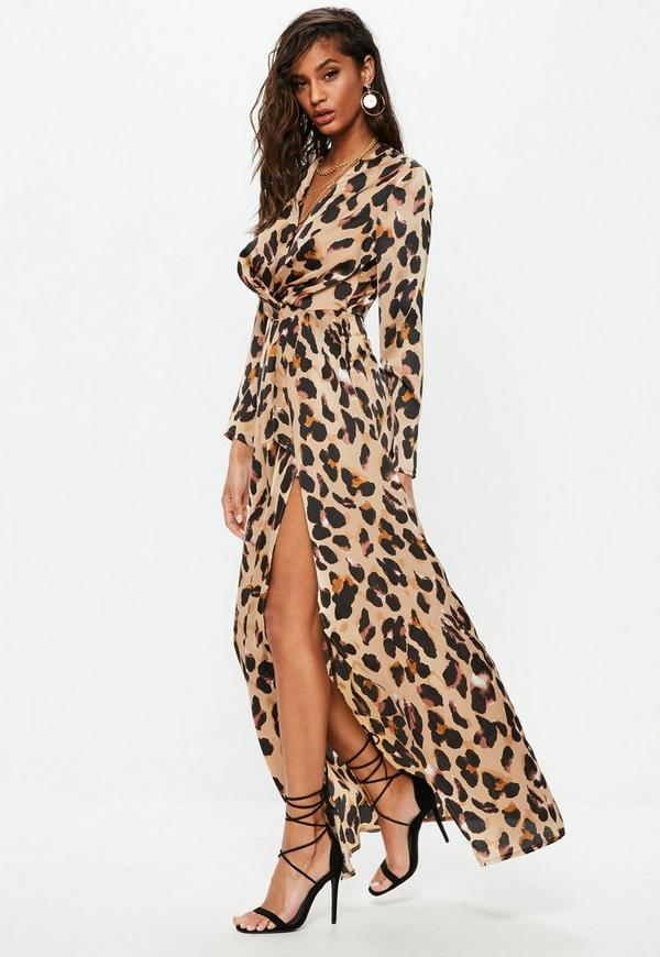 Gold Leopard Print Wrap Front Maxi Dress Missguided