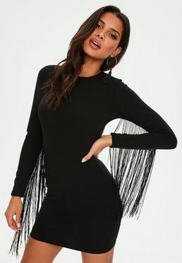 Czarna sukienka mini z frędzlami