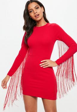 Red Tassel Long Sleeve Bodycon Mini Dress