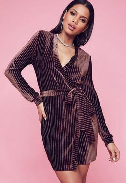 Burgundy Velvet Pinstripe Belted Wrap Shift Dress