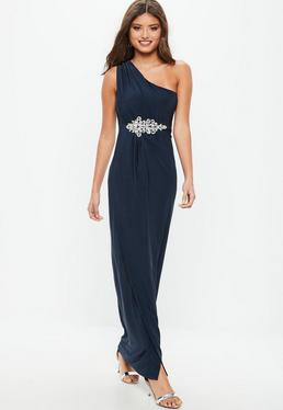 Bridesmaid Navy One Shoulder Diamante Maxi Dress