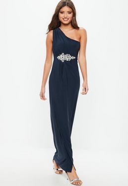 Vestido dama de honor largo asimétrico con pedrería en azul marino