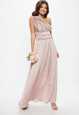 Vestido largo dama de honor con multiposición de satén en rosa