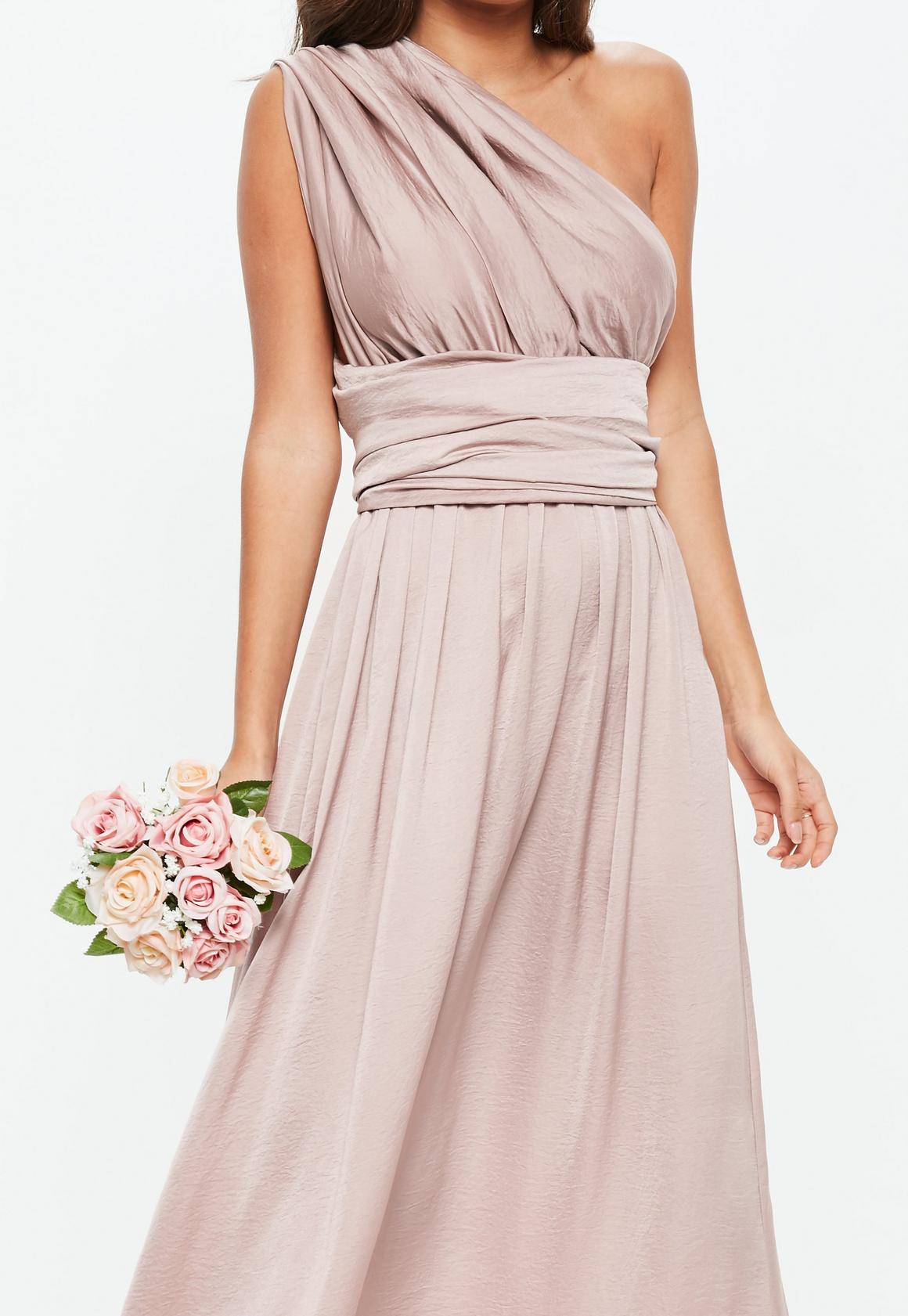 195bafdf851 Missguided - Bridesmaid Pink Satin Multiway Maxi Dress