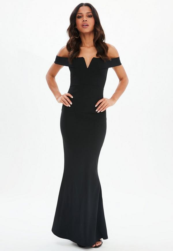 Black Scuba Fishtail Maxi Dress Missguided
