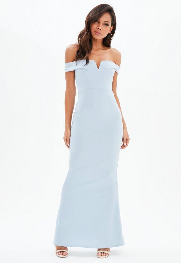 Blue Bardot Scuba Fishtail Maxi Dress | Missguided