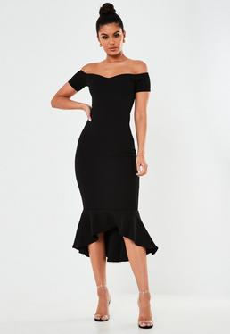 a023e84d67 Black Bardot Fishtail Midi Dress