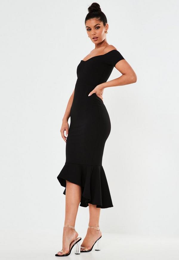 Black fishtail dress plus size