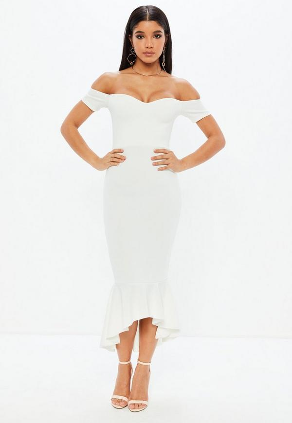 White Bardot Fishtail Hem Midi Dress Missguided