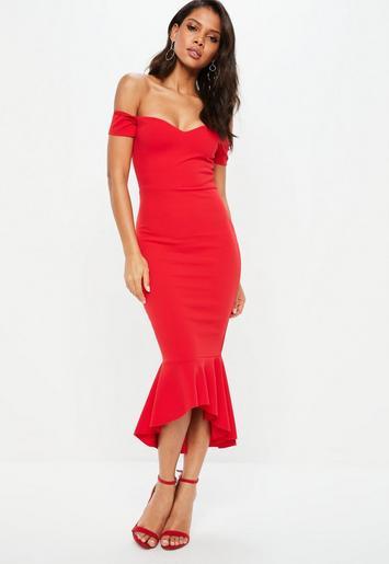 Red Bardot Fishtail Midi Dress Missguided