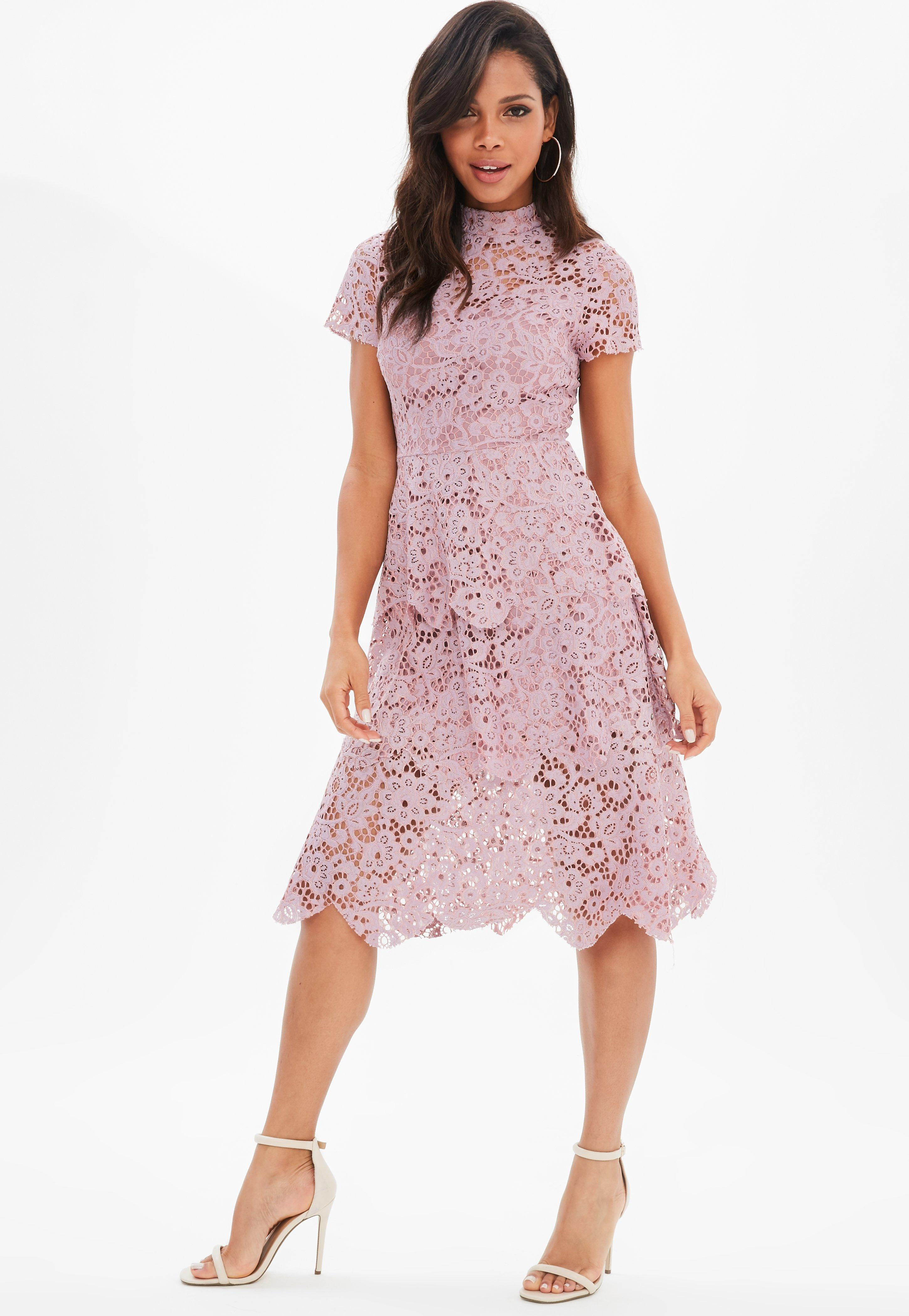 Pink Lace High Neck Midi Skater Dress