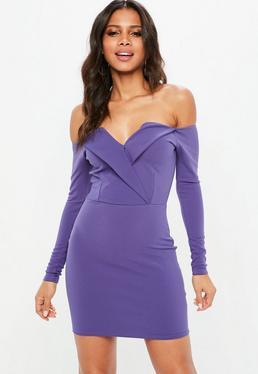 Blue Bardot Foldover Bodycon Dress
