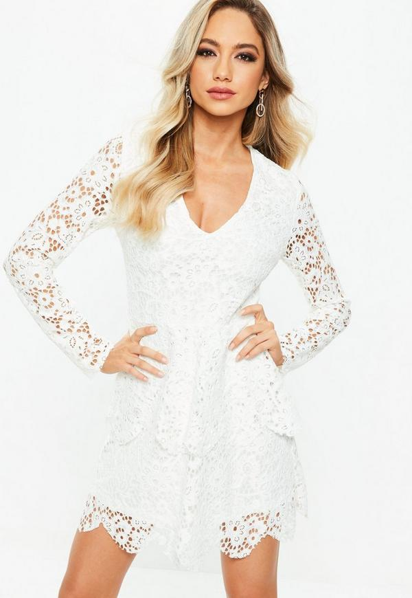 white lace long sleeve double layer skater dress missguided