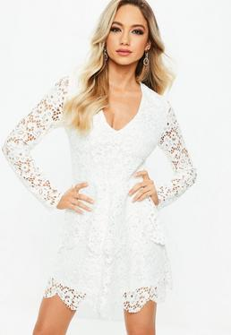 White Lace Long Sleeve Double Layer Skater Dress