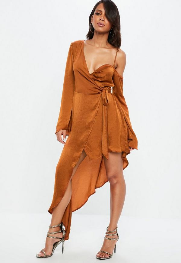 Rust Asymmetric Long Sleeve Satin Maxi Dress by Missguided