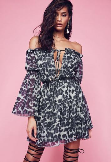 Leopard print dresses in grey color