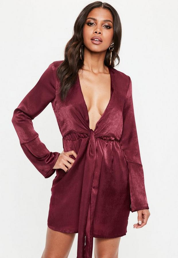 Product photo of Burgundy satin plunge tie front shift dress purple