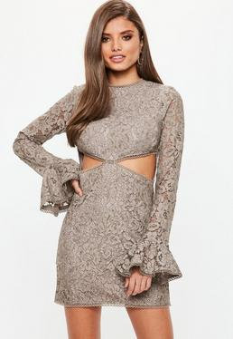 Mink Lace Cut Out Waist Detail Mini Dress