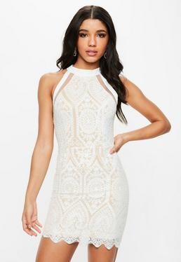 White Racer Neck Embroidered Lace Mini Dress