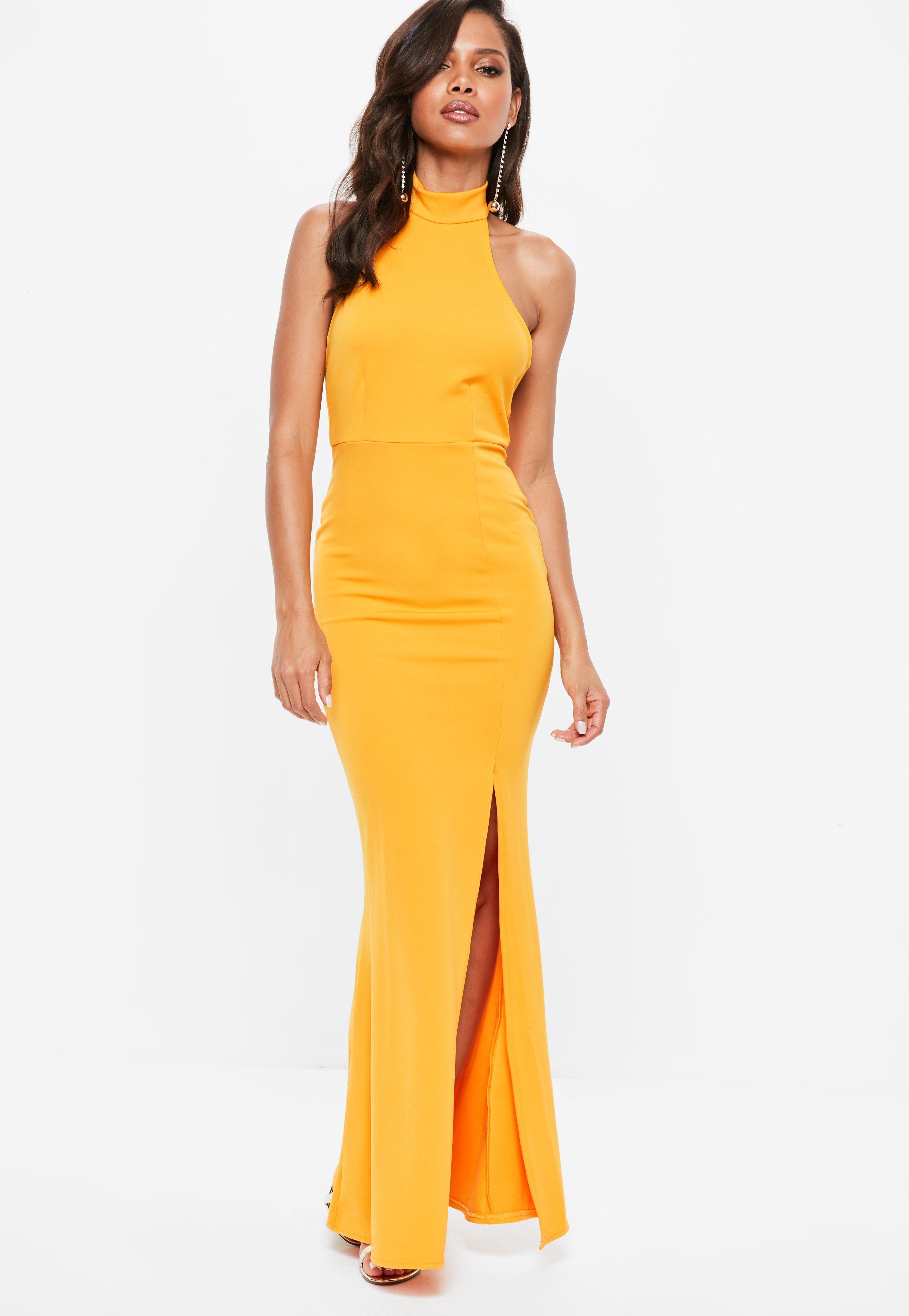 Descuento excelente Naranja Cuello Halter Vestido Maxi Paso Furtivo - 10 / Naranja I Vi Primero Calidad superior en venta SGQNkPQTV