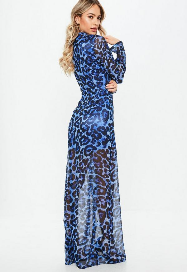 Blue Leopard Print Wrap Front Maxi Dress | Missguided