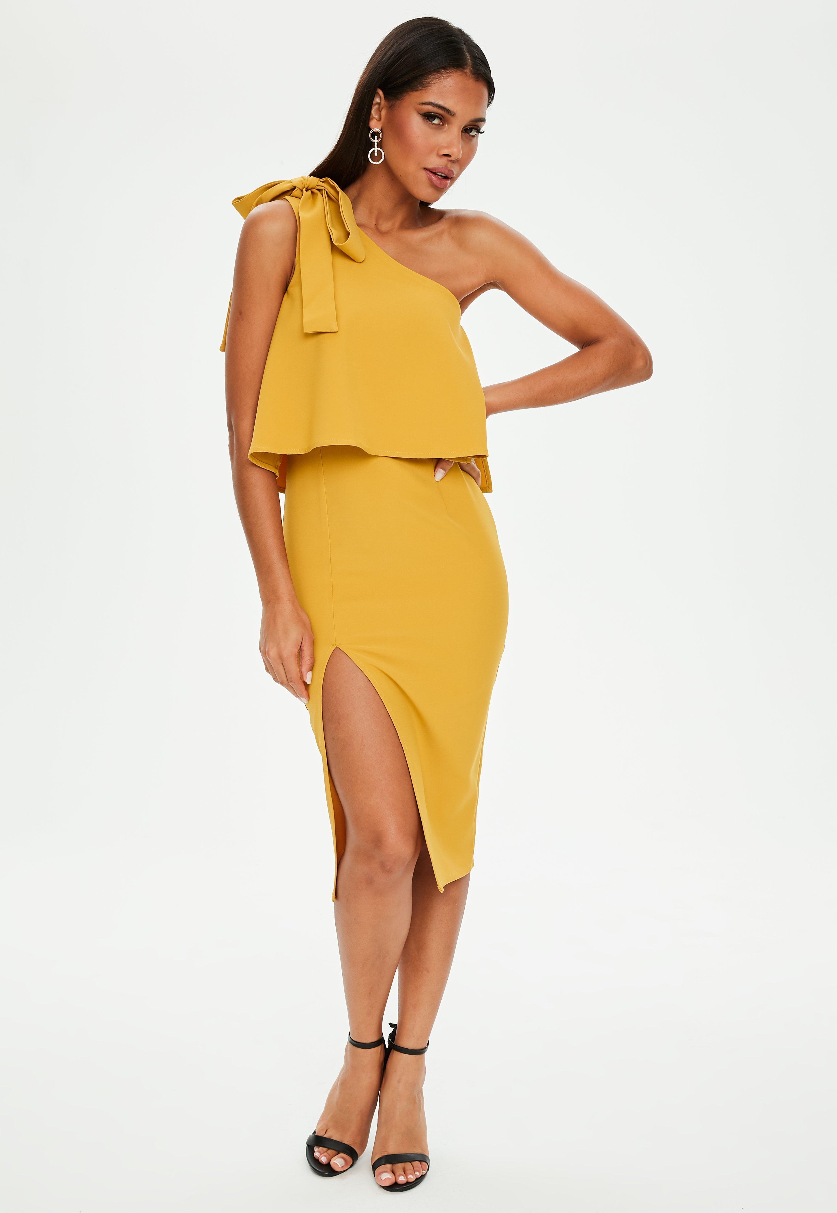 Yellow One Shoulder Midi Dress