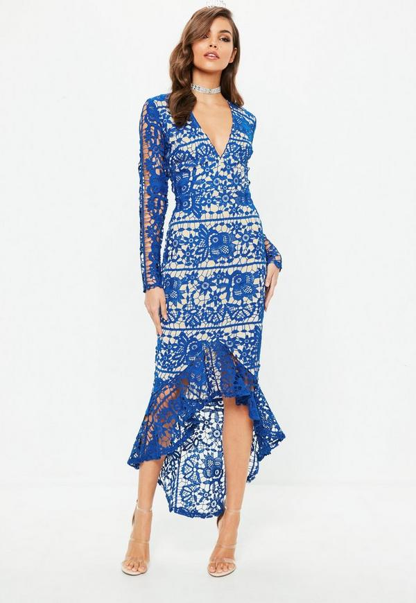 Blue Lace Plunge Fishtail Hem Midi Dress by Missguided