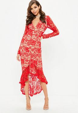 Red Lace Plunge Fishtail Hem Midi Dress