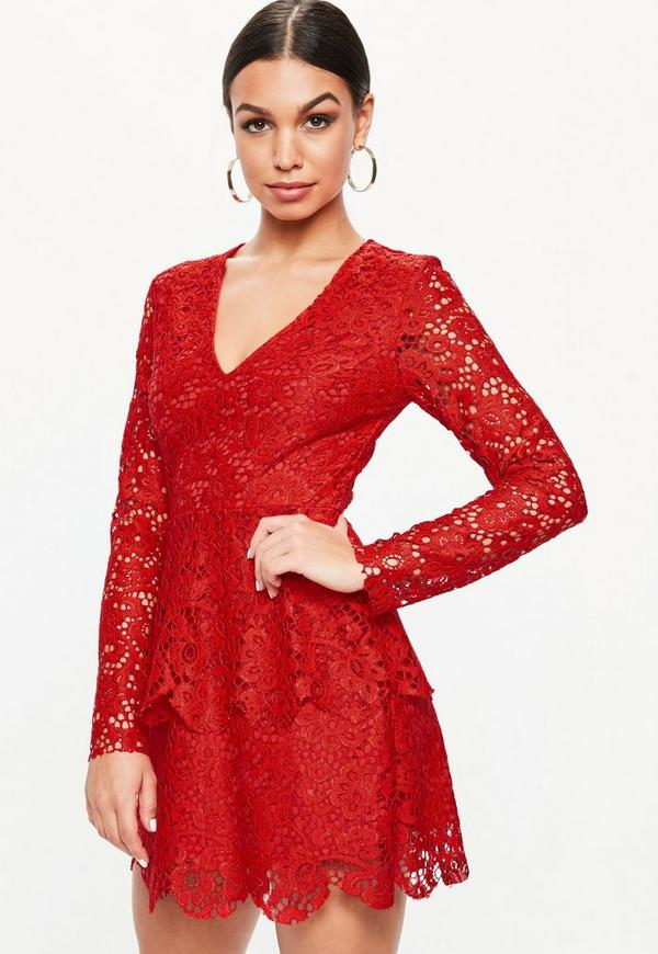 e416bd518fbe Red Lace Plunge Frill Layer Skater Dress. Was €54.00. Now €22.00 (60% off).  Previous Next