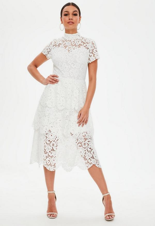 White Lace Midi Skater Dress by Missguided