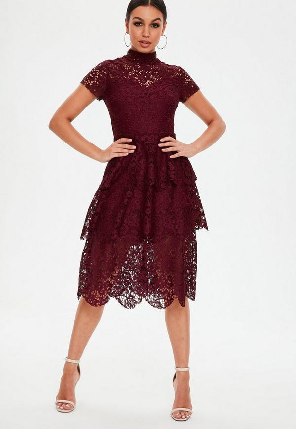 Burgundy Short Sleeve Lace Midi Skater Dress by Missguided