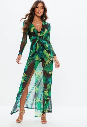 Green Tropical Plunge Thigh Split Sheer Maxi Dress