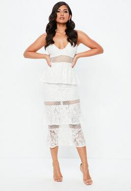 Midi Dress Knee Length Dresses With Sleeves Missguided