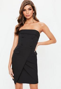 Black Bandeau Wrap Mini Dress