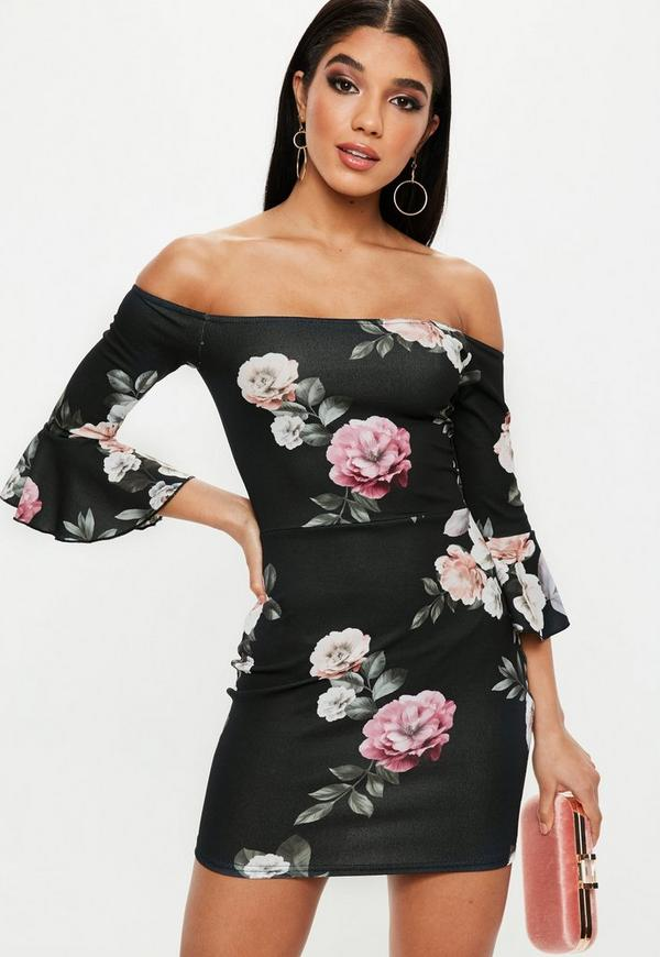 Black Floral Print Bardot Frill Sleeve Mini Dress by Missguided