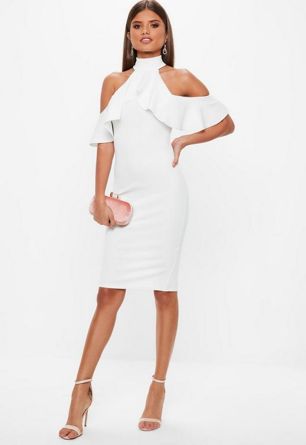 White High Neck Cold Shoulder Frill Midi Dress Missguided