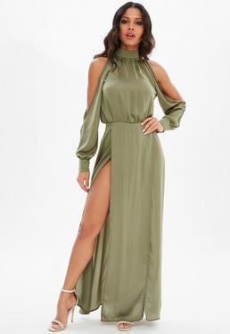 Khaki Split Front Satin Maxi Dress
