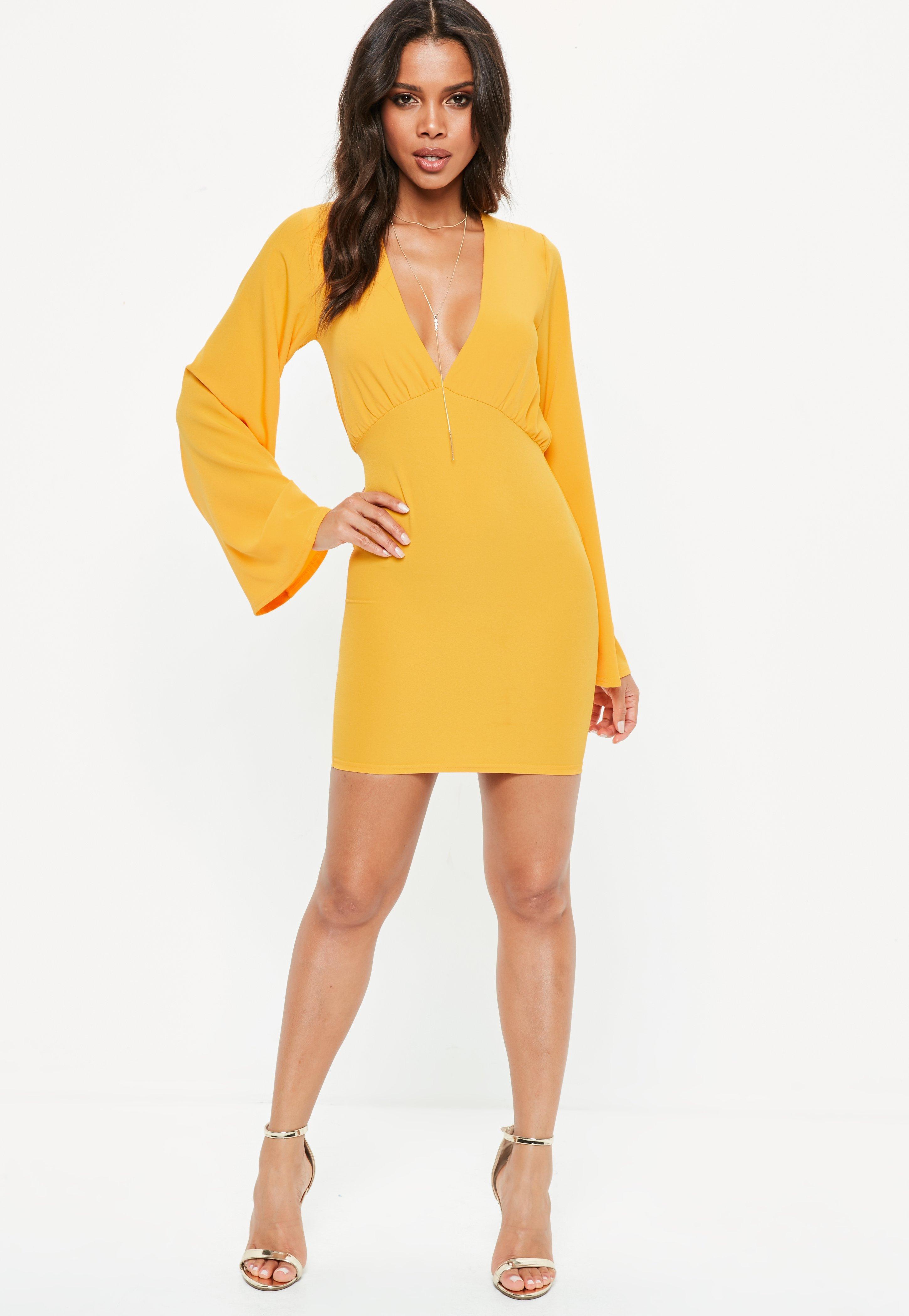 Yellow Plunge Kimono Sleeve Bodycon Mini Dress | Missguided
